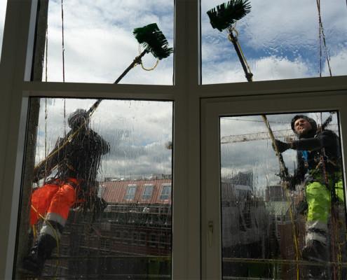 Reinigung der Außenfenster durch Kletterer